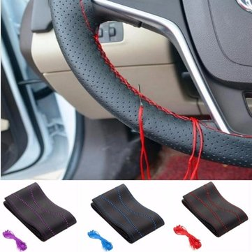 Universal DIY PU Leather Car Steering Wheel Cover With Needles and Thread