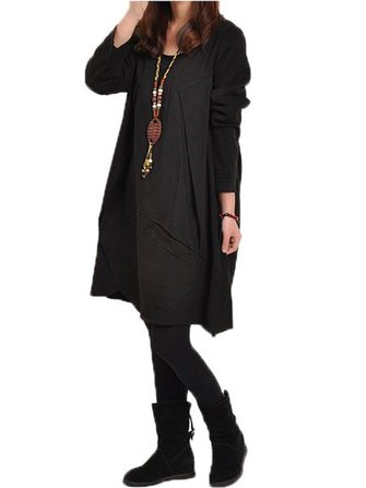 Original Women Casual Loose Long Sleeve Pocket Asymmetrical Dress