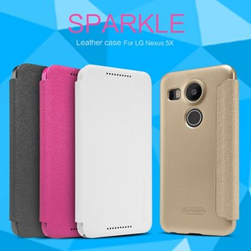 NILLKIN Sparkle Leather Window View Case PC Hard Back Cover Skin For LG Nexus 5X