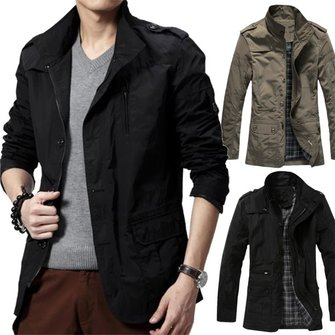 Buy Mens Casual Jackets Zipper Fashion Stand Color Windbreaker Trench Coat