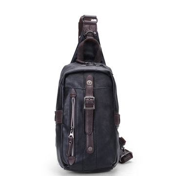 Men PU Black Business Casual Outdoor Shoulder Crossbody Bag