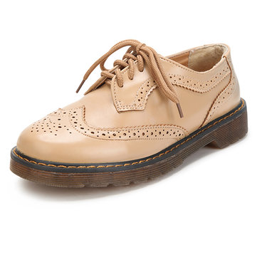 Buy Retro Style Lace-Up Patent Leather Oxford Women Flat Shoes