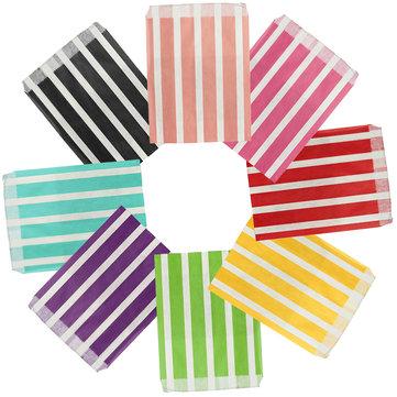 25pcs biodégradable rétro bande bonbons sac cadeau doux sac de nourriture papier fête de mariage