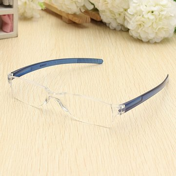 Lightweight Blue Rimless Resin Magnifying Reading Glasses Fatigue Relieve Strength 1.0 1.5 2.0 2.5 3.0