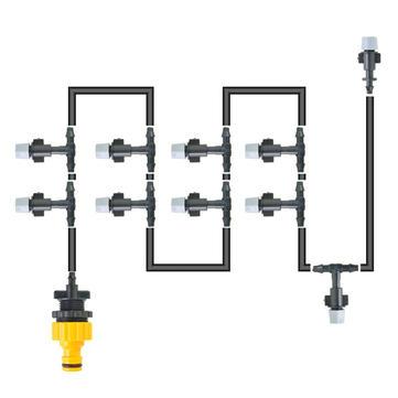 5m 16ft Outdoor Garden Misting Device Cooling System 10pcs Mist Nozzle Sprinkler Drip Irrigation