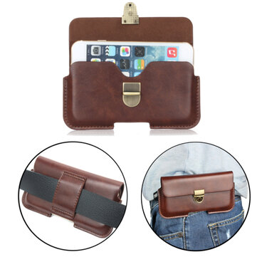 Buy Universal Leather Wallet Pouch Waist Bag Case Phone 5.1 6.3 inch