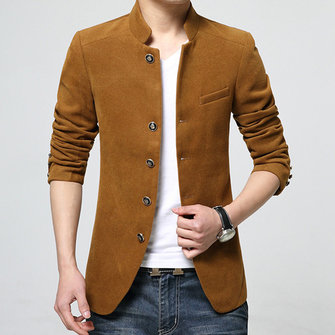 Mens Casual Slim Fit Woolen Single-breasted Stand Collar Suit Coat