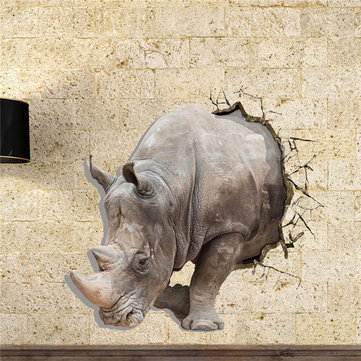 Rhinoceros 3D Wall Decals PAG STICKER Removable Wall Art Rhino Stickers Home Decor Gift