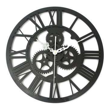 Buy Vintage Wall Clock Rustic Art Big Gear Wooden Handmade Home Bar Cafe Decor Gift 32cm