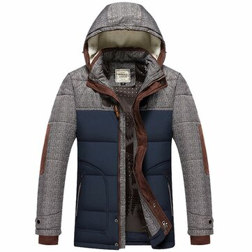 Mens Plus Thick Warm Winter Removable Hood Padded Jacket Parka