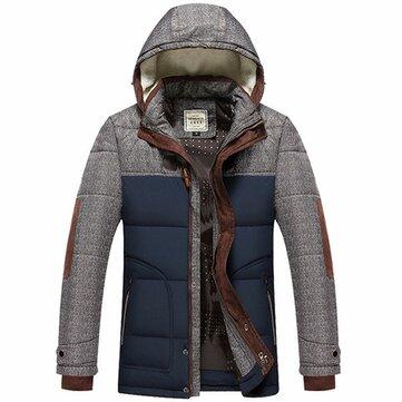 Мужской плюс толстый теплый зимний съемный капюшон телогрейки утепленная