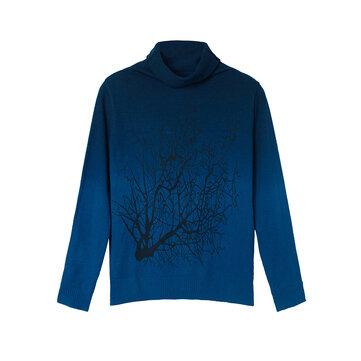 Mujeres cachemira de cuello alto patrón de rama suéter color degradado