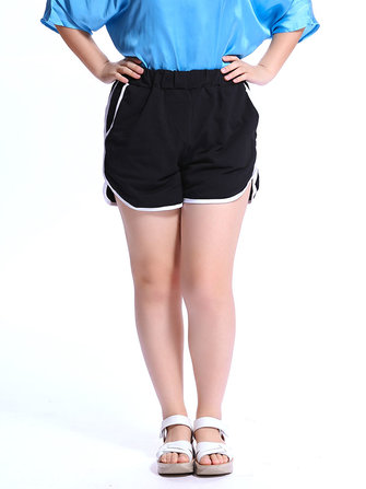 Shorts sport couleur de taille élastique pur pour les femmes