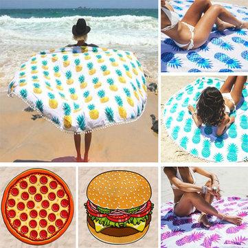 150cm pineaaple de pizza donut impresión fina playa dacrón toalla chal sábana tapiz
