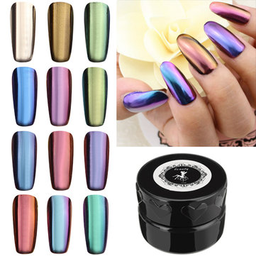 12 Colors Magic Mirror Chrome Effect Metallic Powder Set Nail Art Additive Pigment Silver