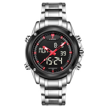 Naviforce 9050 LED Digital Stainless Steel Band Analog Men Wrist Watch