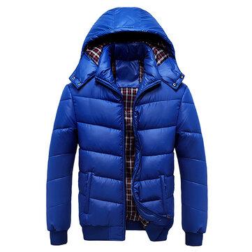 Зима мужские плюс толстые теплые съемный капюшон на молнии проложенный ветровки куртки