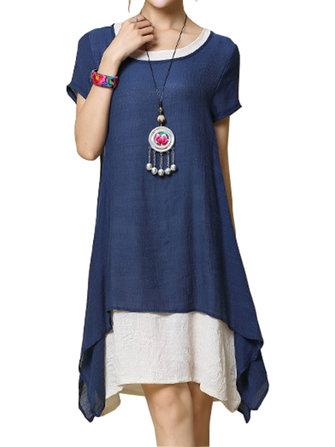 Women Loose Solid Fake Two-Piece High Low Hem Dress