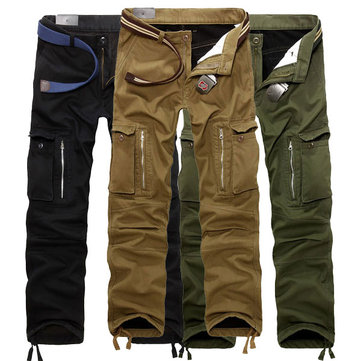 ChArmkpR Thick Loose Mens Winter Polar Fleece Lined Windproof Cargo Pants