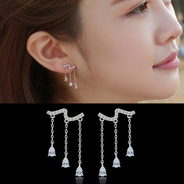 925 Sterling Silver Water Drop Crystal Zircon Tassel Drop Earrings
