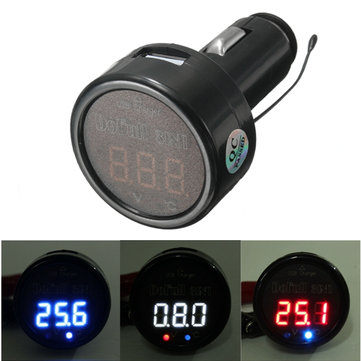 3 IN 1 Display LED Digital Thermometer Voltmeter USB Charger
