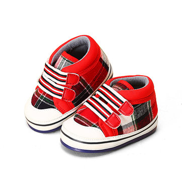 Baby Boy Girl Plaid Breathable Soft Sole Comfortable Prewalker Shoes