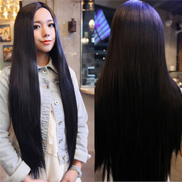Buy Women Cosplay Wigs Long Straight Wig Black Hair Halloween Party Dress 80cm