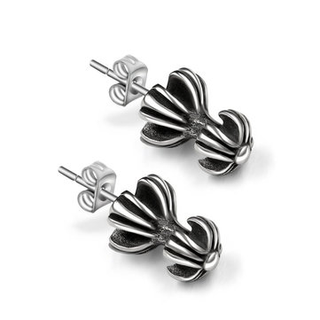 1pc Titanium Men Earring Double Layers Cross Punk Jewelry Accessories
