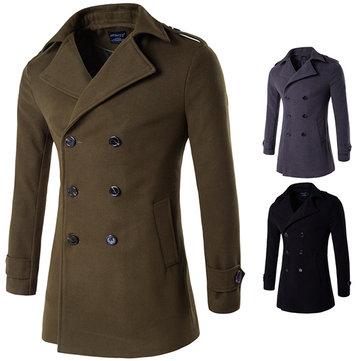 Moda invernale mens doppio trench di lana girano-giù il soprabito di business