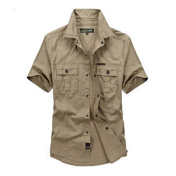 Mens Outdoor Military Double Pocket Solid Color Casual Short Sleeve Cotton Shirt