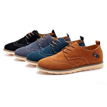 Big Size Men Fashion Brogue Shoes Round Toe Formal Shoes Casual Suede Shoes