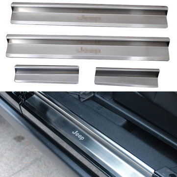 Buy Silver Stainless Steel Car Door Sill Cover Protector Guards 2007-2015 Jeep Wrangler