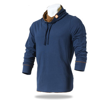 JOZSI Mens Autumn Outdoor Tops Stand Collar Casual Sport Cotton Long Sleeve T-shirt