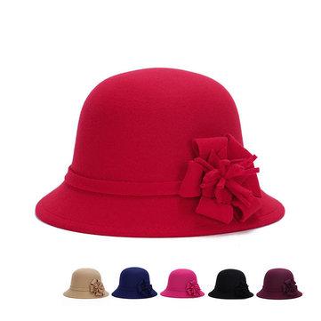 Mulher Raparigas Vintage Chapéu Fedora com Aba redonda com Flor de Poliéster Chapéu Gorro