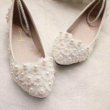 Buy White Lace Pearls Ankle Trap Bridal Flats Low High Heels Wedding Shoes