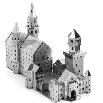 Aipin DIY 3D Puzzle Stainless Steel Model Kit Neuschwanstein Castle Silver Color