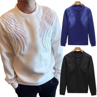 Buy Mens Crew Neck 3D Wings Pattern Autumn Sweatshirt Casual Long Sleeve Pullover T-shirt