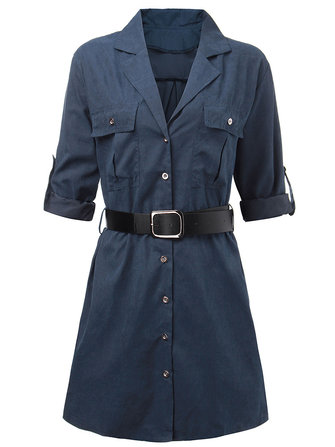 Original Elegant Work Pocket Lapel Shirt Dress For Women With Belt