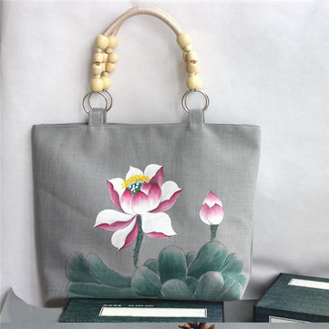 Original Women Handprinting Lotus Canvas Tote Bags Chinese Style Bead Shoulder Bags Capacity Shopping Bags