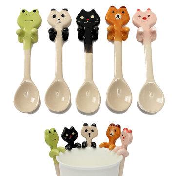 Simpatico cartone animato animale caffè di ceramica appeso paletta latte arredamento minestra del tè tableware