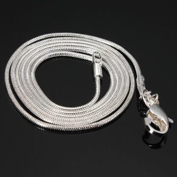 925 Silver 1MM Snake Simple Chain Necklace 16 18 20 22 24 inch