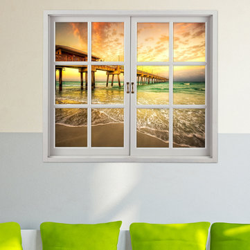 Buy Sea Bridge 3D Artificial Window View Wall Decals Room PAG Stickers Home Decor Gift