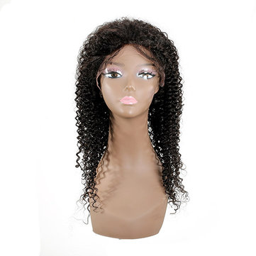 100% Kinky Curly Hand Tied Monofilament Lace Front Real Human Hair Wig