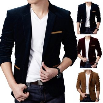 Buy Mens British Style Casual Single Bottun Long Sleeve Business Suit