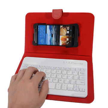 Universal Wireless Bluetooth 3.0 Keyboard Holster Flip PU Case Stand for 4.2-6.5 inch Cellphone