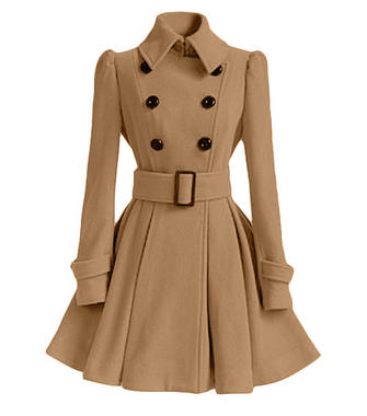 Belt Ruffles Slim Double Breasted Long Sleeve Lapel Women Woolen Coat