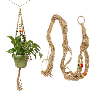 42 Inch Colour Bead Flowerpot Plant Hanger Macrame Jute Rope Garden Decorative Cord with Hook