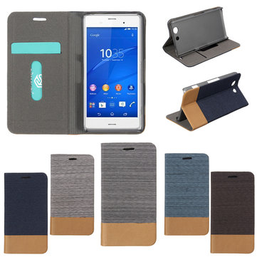 Durable Flip Jeans Leather Card Stand Case PC Cover For Sony Xperia Z4 Compact