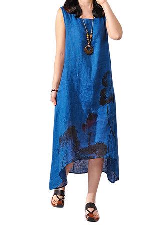 Loose Women Sleeveless Lotus Ink Painting Cotton Linen Irregular Dress