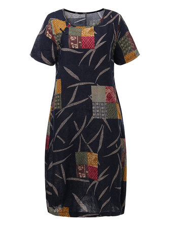 Original Women Vintage Pattern Printed Patchwork Linen Cotton Dress